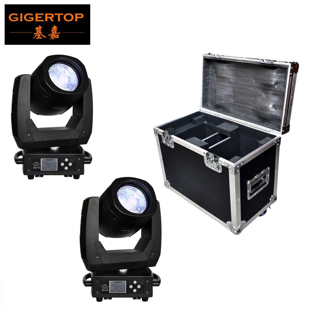 Flightcase 2in1 Pack 150 W LED cabeza móvil luz escáner haz efecto 8 lente faceta 11 colores + abierto/ 17 gobos + abierto pantalla a todo color