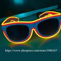 10 Pcs Flashing EL LED Glasses Luminous Party Lighting Colorful Sunglasses Glowing Light Up Stage Performance