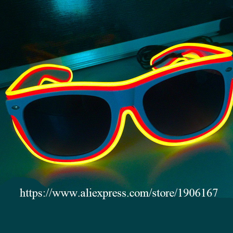 10 Pcs Flashing El Led Glasses Luminous Party Lighting Colorful Sunglasses Glowing Light Up Stage Performance Dance Wear Selected Material