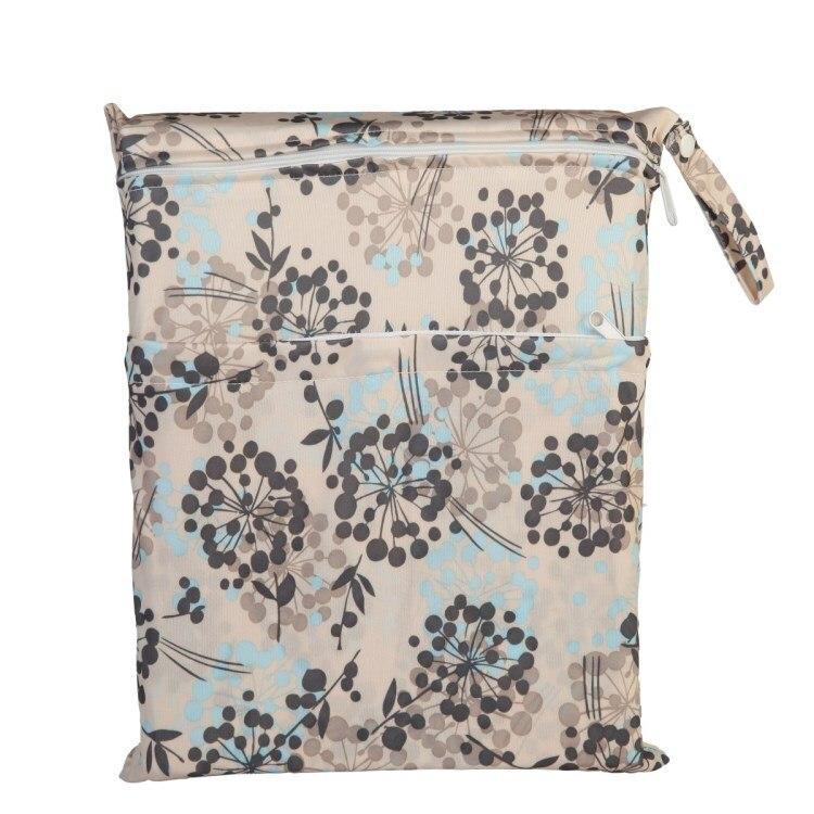 [Sigzagor] 1 Влажная сухая сумка с двумя молниями для детских подгузников, водонепроницаемая сумка для подгузников, розничная и, 36 см x 29 см, на выбор 1000 - Цвет: W4 Foliage
