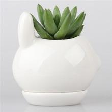 Kawaii Rabbit Ceramic Succulent Plant Flower Pot Flowerpot Planter Nursery Pots Cub Kitten Doggie Puppy Baby