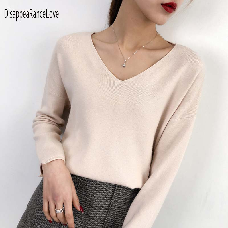 Women Pullover Cashmere Sweater 2019 Knitting Autumn Winter Multi Colors Sexy V-Neck Elegant Bottoming Ladies Tops