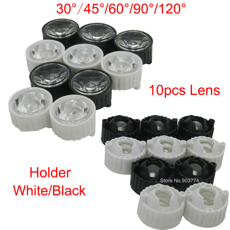 10pcs/lot Led Lens 30 45 60 <font><b>90</b></font> <font><b>120</b></font> Degree for diy 1w 3w Aquarium grow led light,Black White Holder Plano Lens <font><b>Reflectors</b></font> image