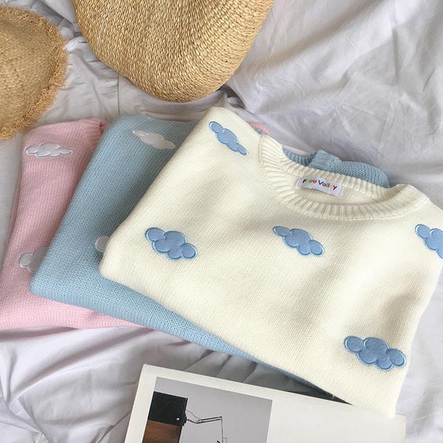 Kawaii Cotton Sweatshirt with O-Neck