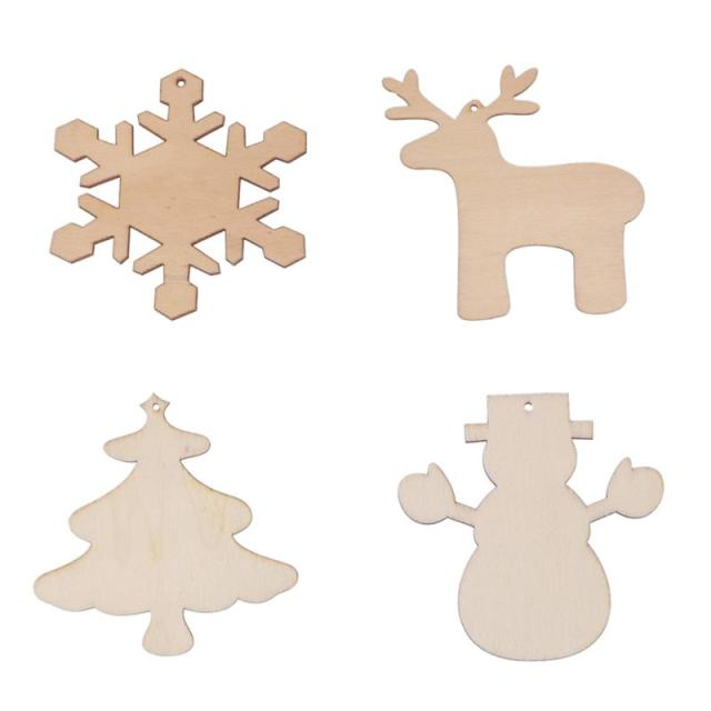 4pcs snowflake deer snowman christmas tree cutout veneers slices for patchwork diy crafting decoration christmas pendants