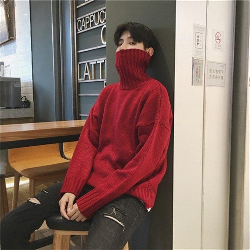 High-necked Sweater 2018 Winter New Korean Men's Jacquard Sweater Thick Sweater Loose Men's Sweater Comfortable