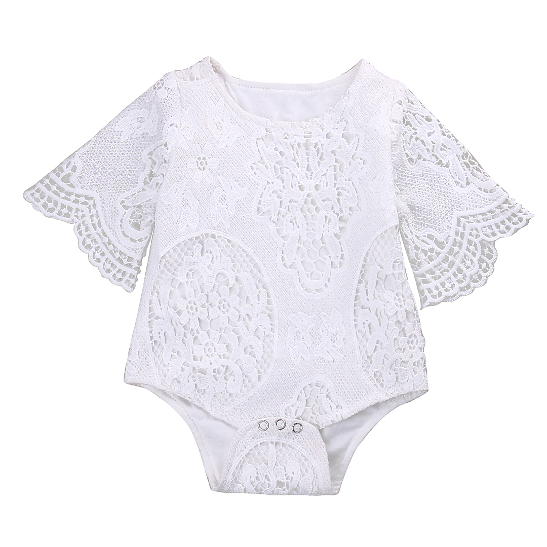 Babies Girl Summer Broderad Floral Spets Bodysuit s Baby Girl Flare Sleeve Playsuit Outfits Sunsuit One-pieces Kläder