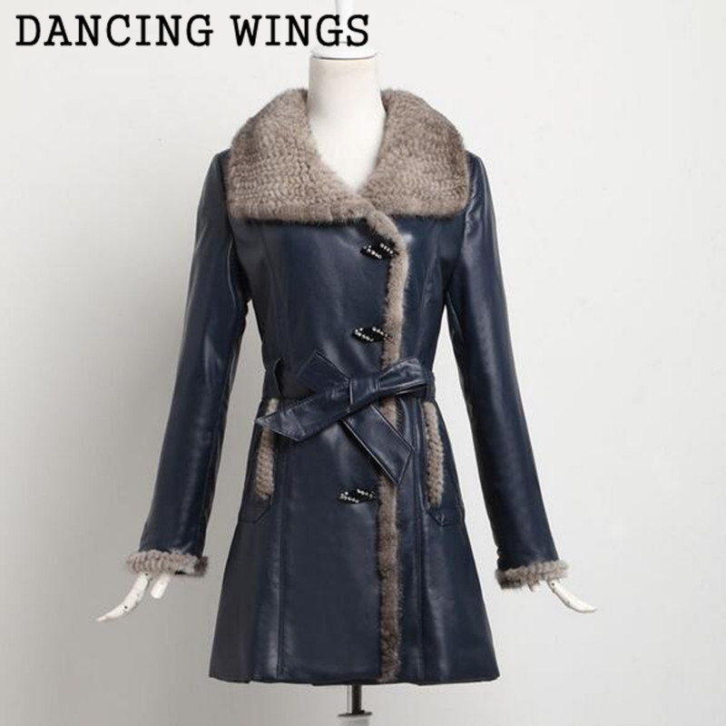 Plus Size 4XL Womens Genuine Sheep Leather Jacket With Real Knitted Mink Fur Collar Ladies Leather Jacket