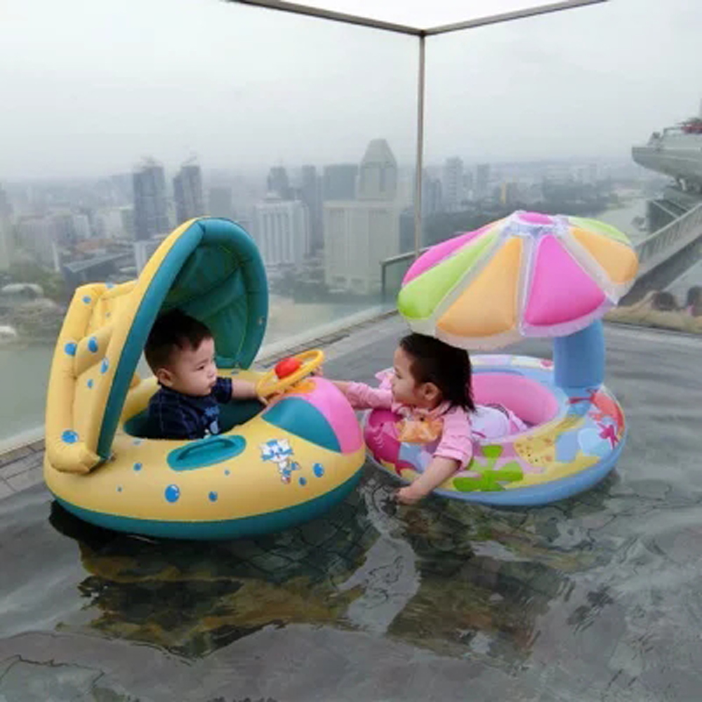 Safe Baby Inflatable Ring Baby Float Children Swimming Circle Pool Accessories Inflatable Wheels With Adjustable Sunshade Seat