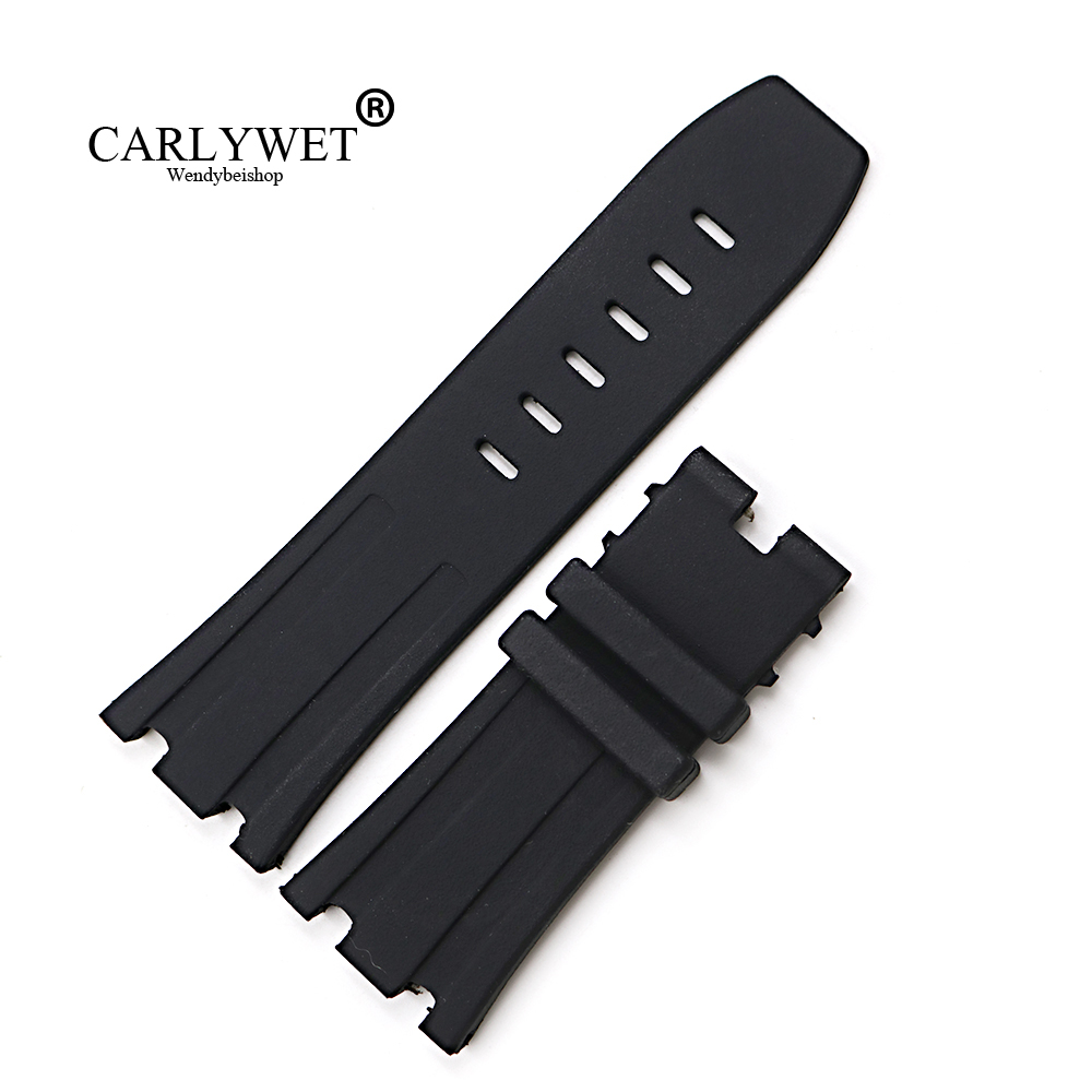 CARLYWET 28mm Black Waterproof Silicone Rubber Replacement Wrist Watch Band Strap Belt for Oak Offshore 42mm