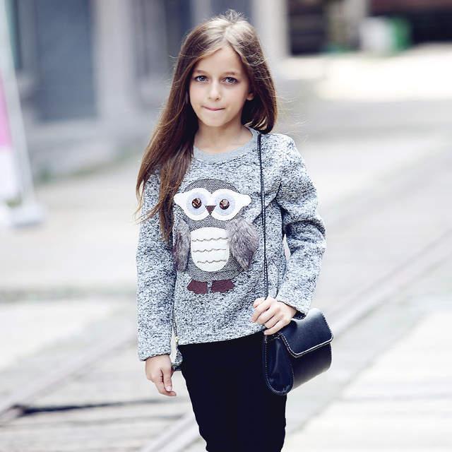 fbaf45ac8 Online Shop Girls Fleece Lined Zipper sweater Cartoon Cute Owl ...