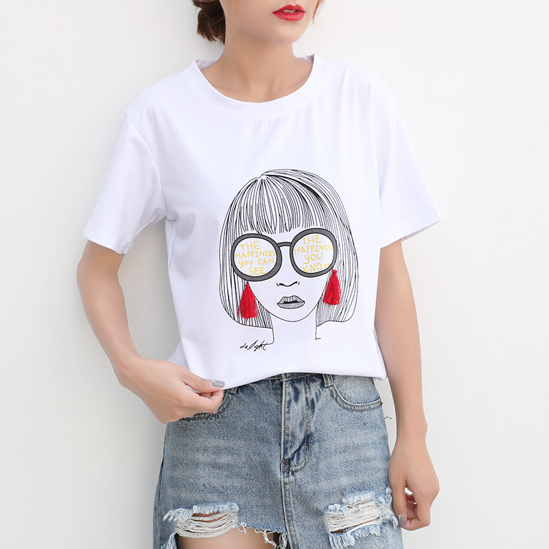 women brand t shirt street fashion Hip-hop white ladies t shirt summer Comfortable casual Short sleeve top tee women t shirt