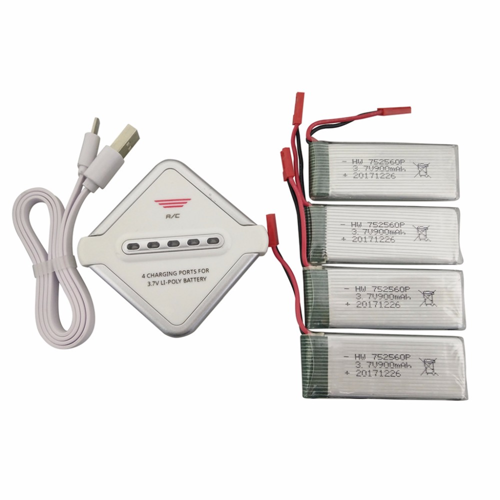 4PCS 3.7V 900mah Lithium Battery with 4-in-1 Charger for 8807 8807W Quadcopter Spare Parts Drone Battery