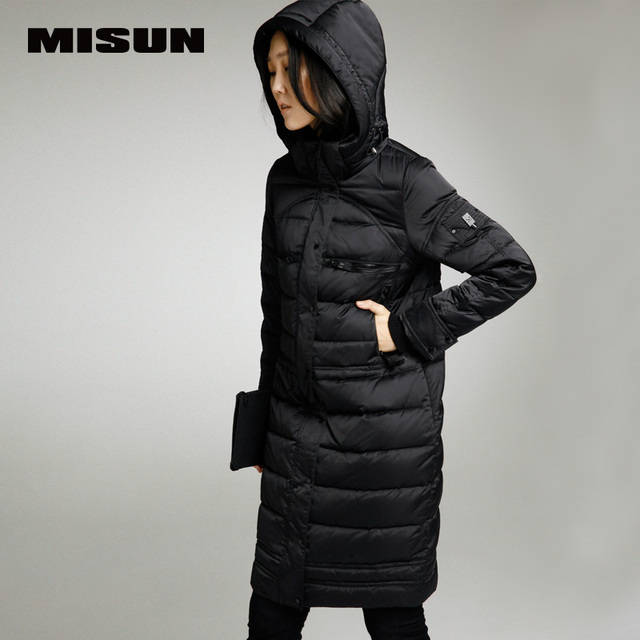 Misun 2017 tampa removível fino breve médio-longo para baixo casaco feminino nova chegada