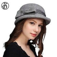 7643a1b7e2723 FS mujeres Otoño Invierno 100% lana Fedora arco Fieltro sombrero Cloche  elegante señoras Iglesia CAPS