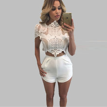 Summer Style Women Lace Pops Plus Size Lace Crochet Hollow Short Sleeve Shirt Black White Blouse Femininas Branco Blusa Renda