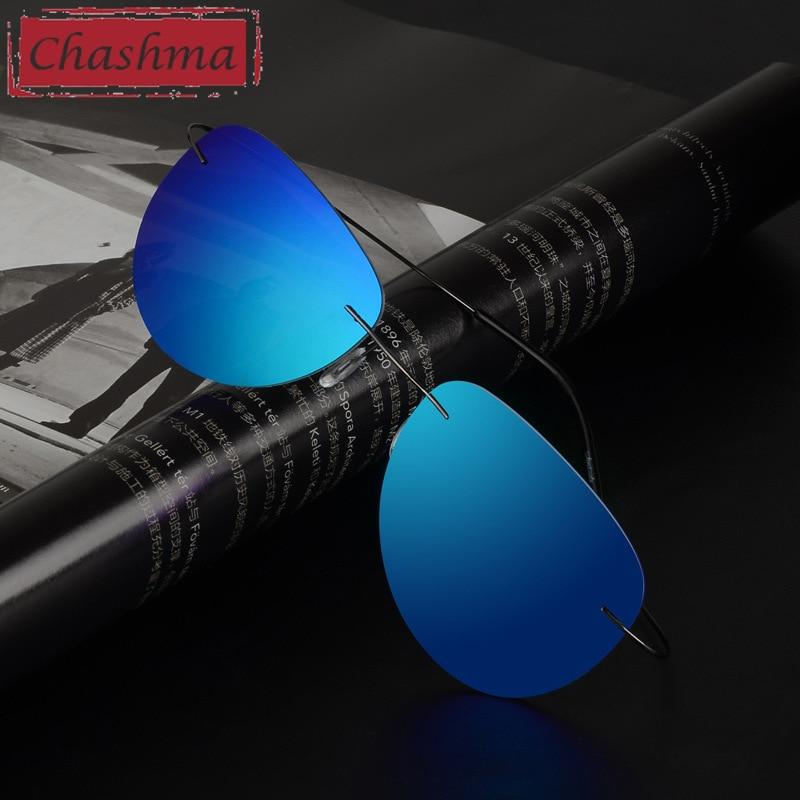 10g Light Prescription Sunglasses Polarized Men Mirror Coating UV 400 Protectio Lens Anti Glare Rimless Glasses