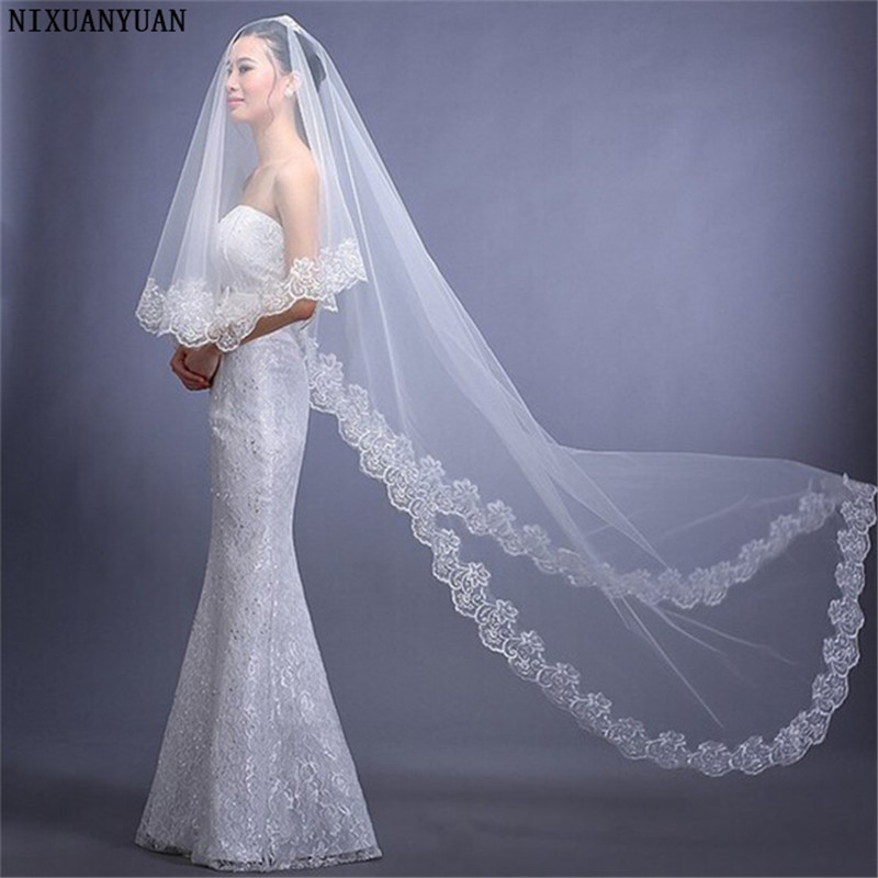 Bridal Veil Ivory White 1 Layer Lace Com Renda Voile Mariage Bride Wedding Veils Accessories Velos De Novia Veu De Noiva