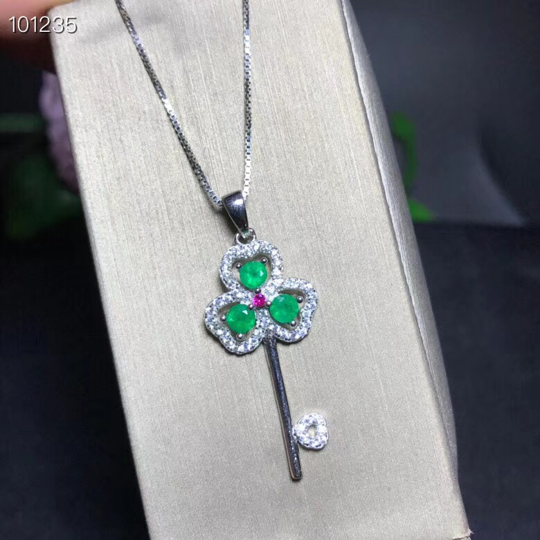 Uloveido Natural Green Emerald Heart Key Pendant Necklace Women 925 Sterling Silver Gemstone Necklace Pendant for