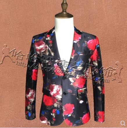 S-4XL (suit+pants) Nightclub Men New clothing singer slim DJ GD flower suits plus size formal dress host Male bar stage costumes
