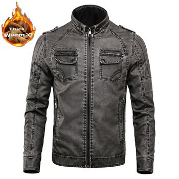 2019 New Autumn Winter Men Warm Jacket PU Faux Leather Jacket Men's Coat Velvet Outerwear Mens Brand Clothing thick coat