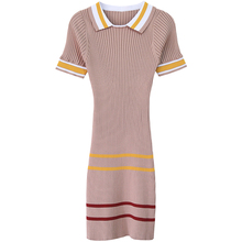 women's girl's oversize plus size spring summer runway fashion high quality rayon knitted striped stretch shirt dress