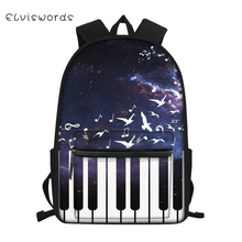 ELVISWORDS Children's Canvas Backpack Piano Music Pattern Students School Book Bag Cartoon Character Print Kids Travel Backpacks totoro anime cosplay backpack ogino chihiro cartoon canvas travel backpacks shoulders school bag best students gifts