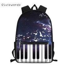 ELVISWORDS Childrens Canvas Backpack Piano Music Pattern Students School Book Bag Cartoon Character Print Kids Travel Backpacks