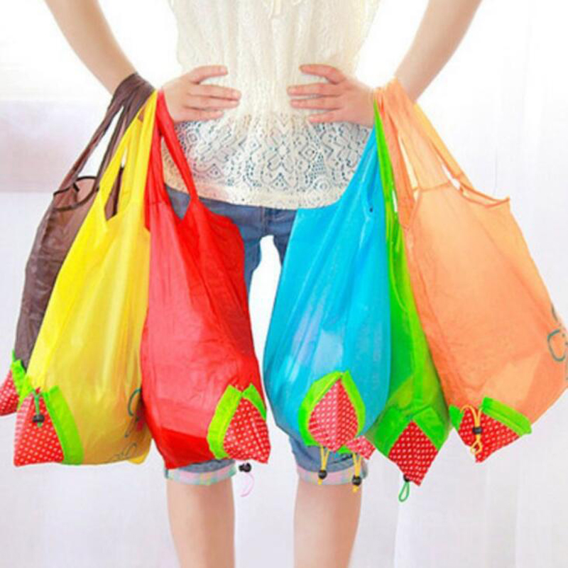 500pcs/lot Cute Strawberry Foldable Tote Shopping Bags eco Reusable Folding Recycle Shopping Bag