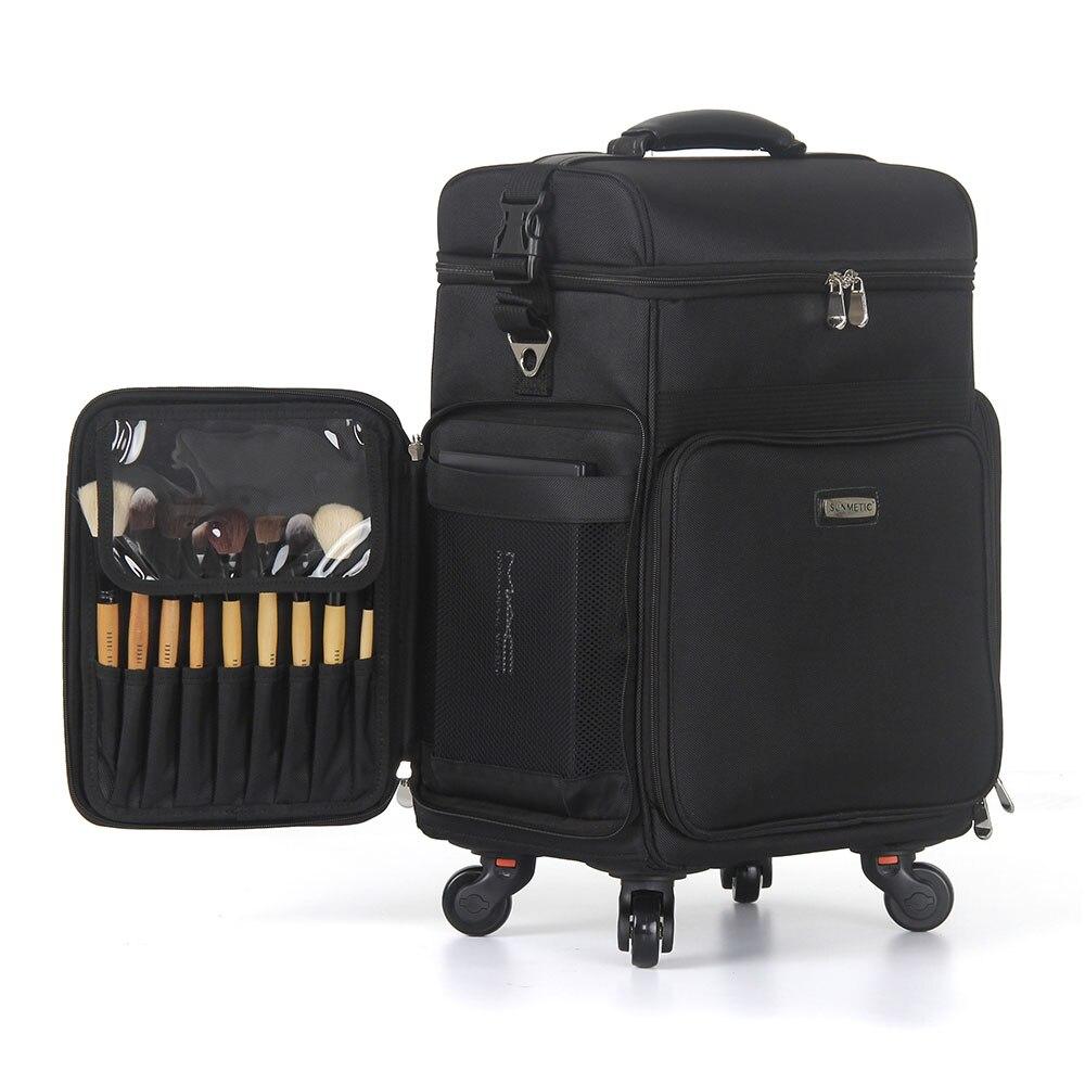 Boîte cosmétique de chariot, bagage de tissu d'oxford, maquillage multifonctionnel et boîtier de chariot de beauté de maquillage, valise de beauté de grande capacité