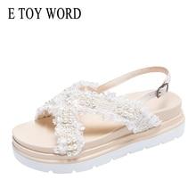 E TOY WORD Women Sandals Summer New Platform shoes Cross Strap pearl sandals Fashion wild Womens Wear