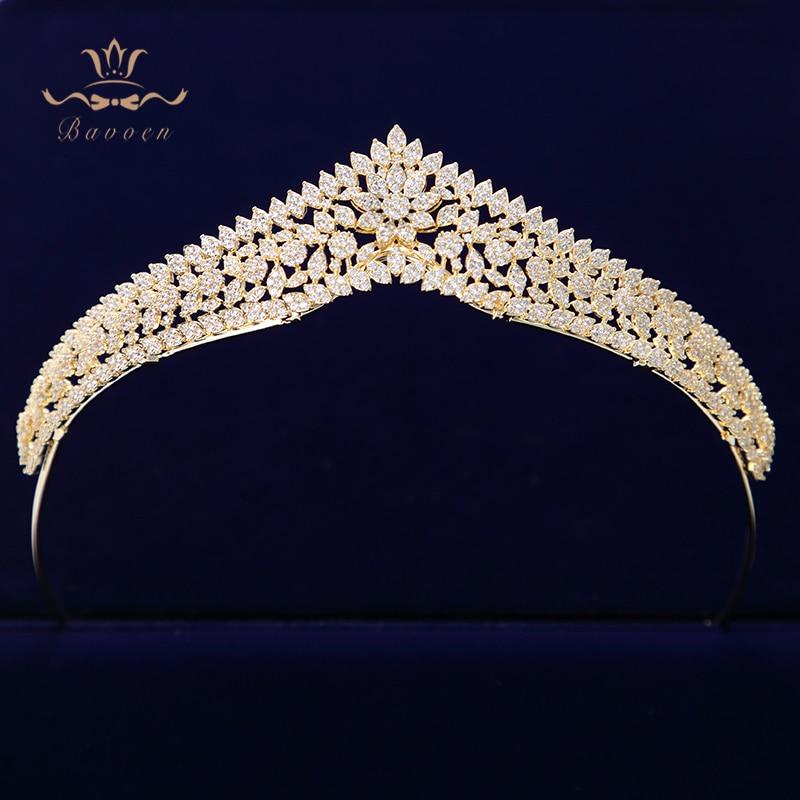 Bavoen Top Quality Korean Sparkling Gold Brides Tiaras Crowns Full Zircon Crystal Hairbands Wedding Bridesmaid Hair