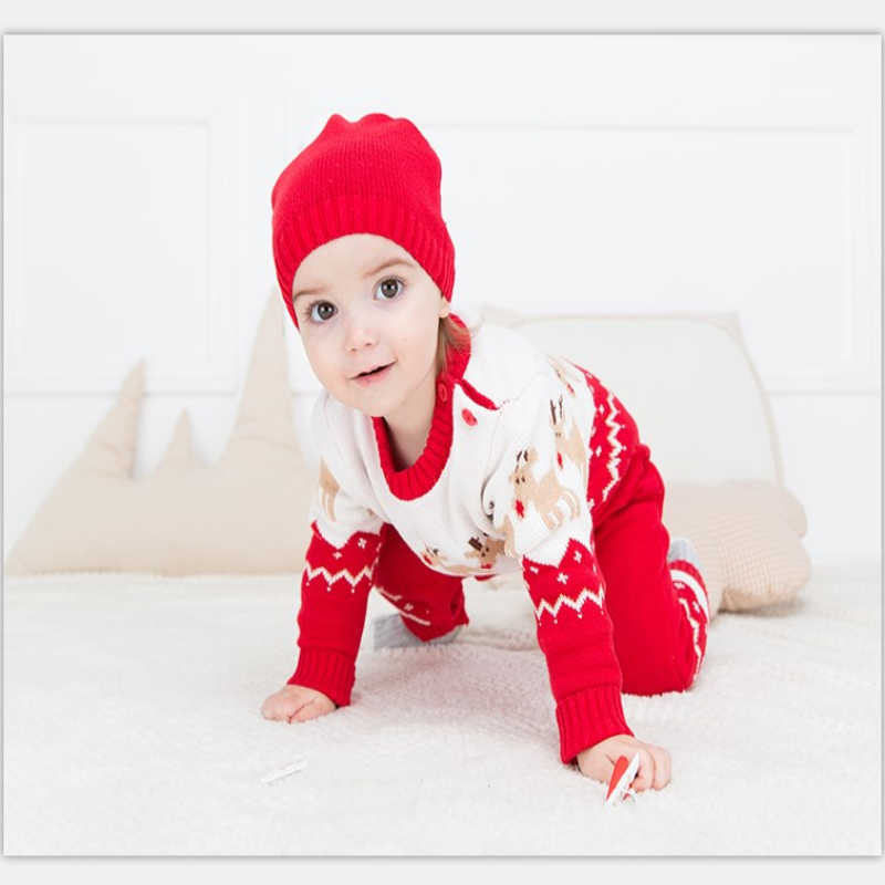 Christmas Sika Deer baby Rompers Knitwear soft Sweater kids one piece Jumpsuits Pajamas infant girl boys clothes baby costumes