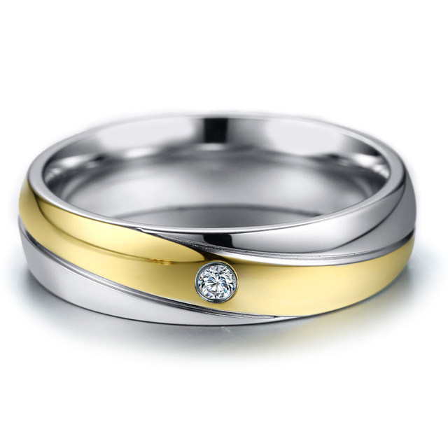 Elegant Wedding Rings For Women And Men Stainless Steel Cz Stone