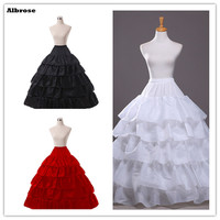 In Stock Four Hoops Five Ruffle Layers Petticoat White Black Red Bridal Crinoline For Ball Gown