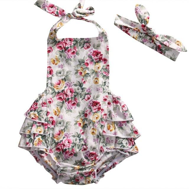 ec214c6fb8f Cute Newborn Baby Girl Floral Halter Romper 2017 Summer Sleeveless Ruffles  Backless Toddler Jumpsuit+Headband Outfits Sunsuit