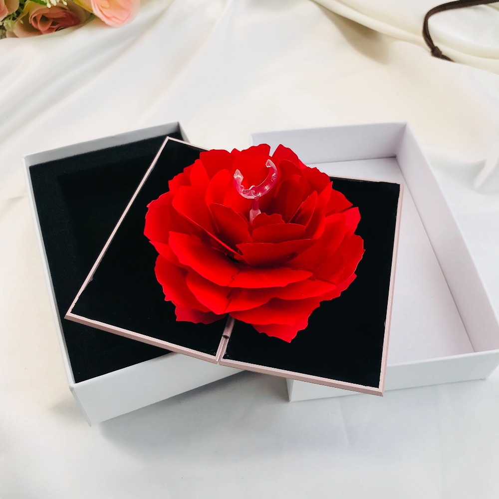Shaking Red Ring Box,Rose Ring Box Marriage confession jewelry box gift Shake the same paragraph,Wedding or propose Ring Box