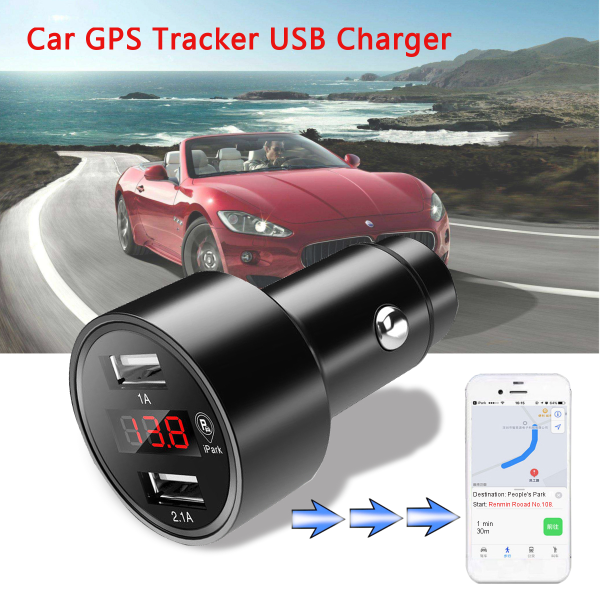 Dual USB Car Tracker Locator Real Time Tracking Device with GPS Car Charger Voltmeter Compact Lightweight Space Saving Portable