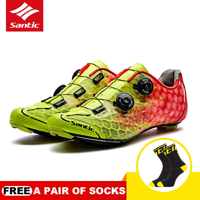 Men Ultralight Cycling Shoes Road Bicycle Self-locking Sneakers Zapatillas Ciclismo Non-slip Bike Breathable Shoes SANTIC racmmer cycling gloves guantes ciclismo non slip breathable mens