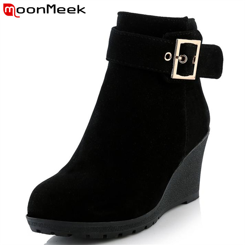 MoonMeek New arrive hot sale high heels wedges winter boots fashion women shoes skid resistance zip