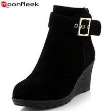 Moonmeek новые прибытия горячей продажи на высоких каблуках клинья зимние сапоги женская мода обувь сопротивление скольжению zip пряжка платформа ботильоны