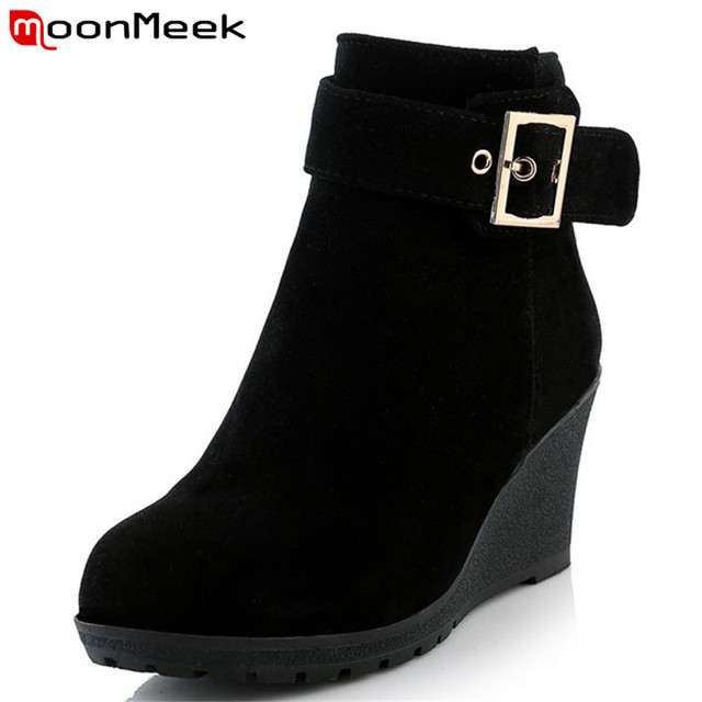 MoonMeek New arrive hot sale high heels wedges winter boots fashion women shoes skid resistance zip buckle platform ankle boots