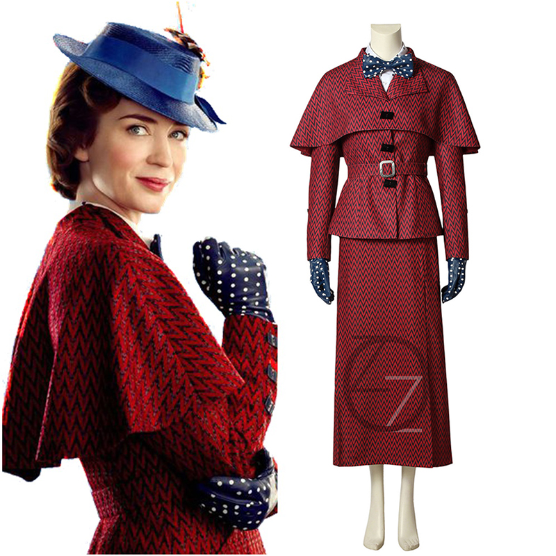 Movie Mary Poppins Cosplay Costume Women Red Suit Dress Uniform Gloves Full Set Halloween Party Cosplay Costumes