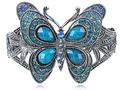 Pretty Blue Faux Turquoise Butterfly Cuff Bracelet Statement Bangles