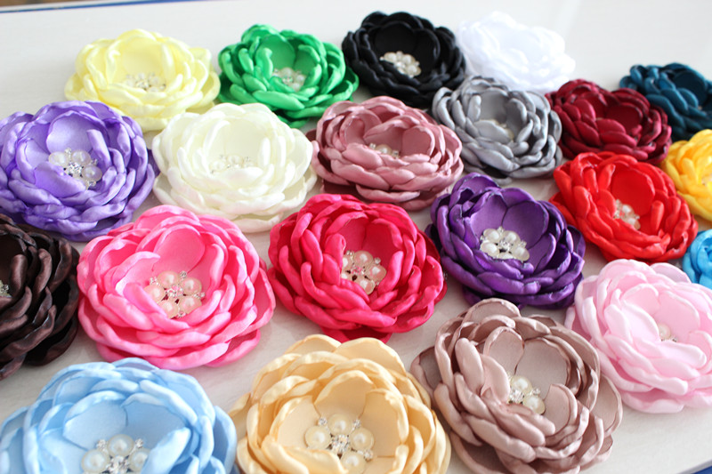Baby Kids Burned edges hair flower accessories Singed Satin Fabric flower ruffled curly rhinestone flower Women