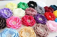 ベビーキッズ燃焼エッジ髪の花のアクセサリー調印サテン生地の花フリルカーリーラインストーンフラワー女性帽子 30 個