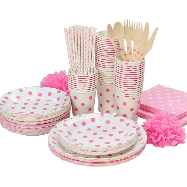 Promotion White \u0026 Pink Polka Dots Tableware Party paper plate cups napkins paper straw  without  sc 1 st  AliExpress.com & Promotion White \u0026 Pink Polka Dots Tableware Party paper plate cups ...