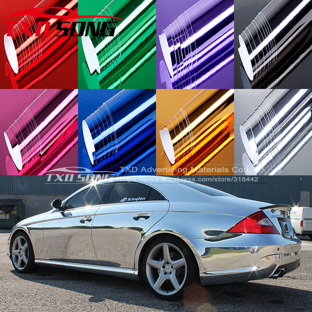Free shipping chrome mirror vinyl film Chrome mirror Sticker with air free bubbles with size:10/20/30/40/50/60x152CM/LOT