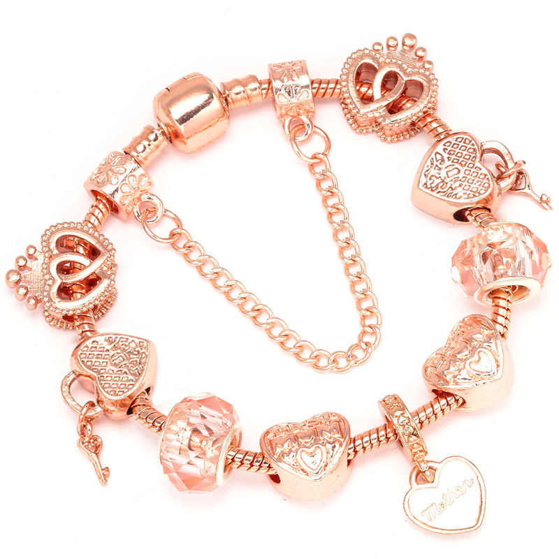 Boosbiy Luxury DIY Beads Rose Gold Crystal Bracelet & Bangle Brand Women Bracelet Unique Charm Bracelet For Women Jewelry Gift