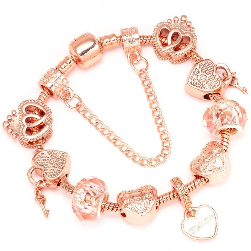 Boosbiy Luxury Brand Women Bracelet Unique Rose Gold Crystal Charm Bracelet For Women DIY Beads Bracelet & Bangle Jewelry Gift